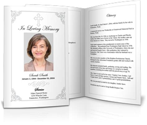 Memorial Service Program Sle Funeral Programs Exles For Memorials Secular Funeral Service Template