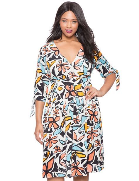Abstrak Dress abstract floral print wrap dress plus size clothing