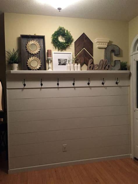 shiplap entryway  shelf  hooks garage doors