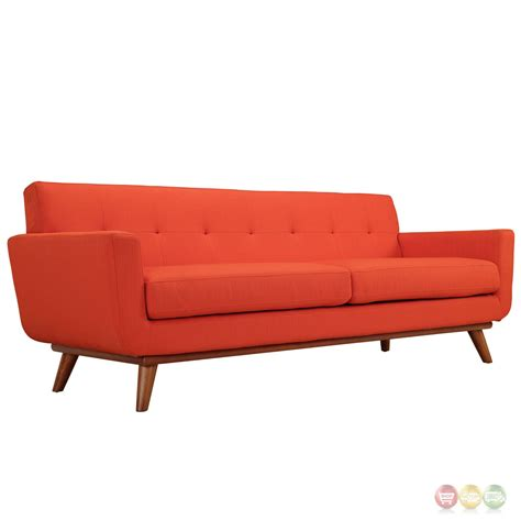 red mid century modern sofa engage modern 2pc upholstered button tufted loveseat and