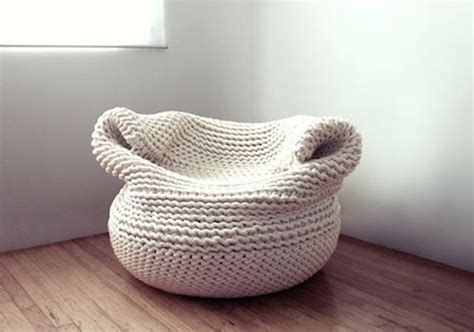 Knitted Bean Bag Cool Knitted Furniture And Decor Ideas