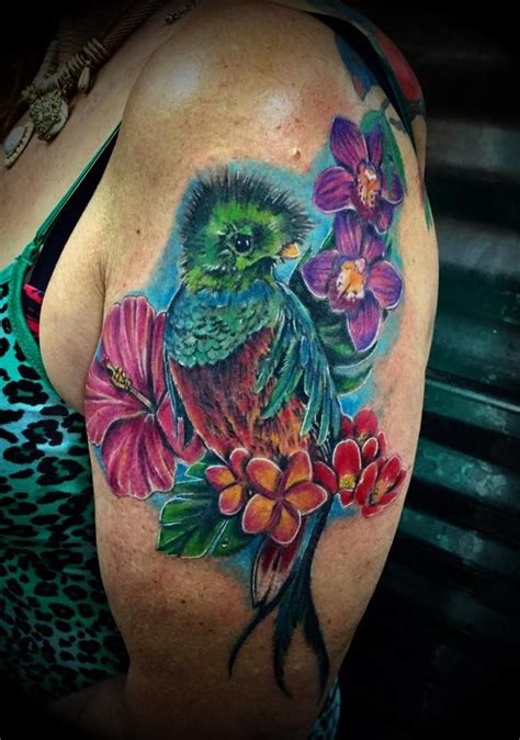 quetzal tattoo meaning my quetzel shoulder tat from last year flower images