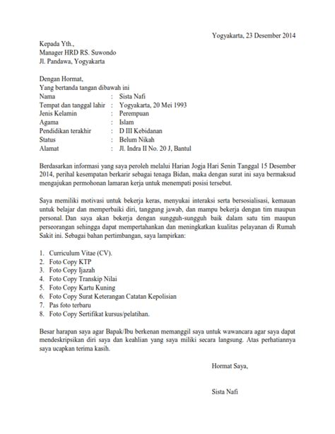 surat lamaran kerja bidan ben