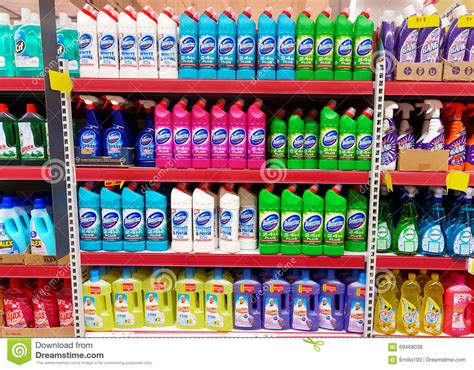 home cleaning products shelf in a supermarket editorial