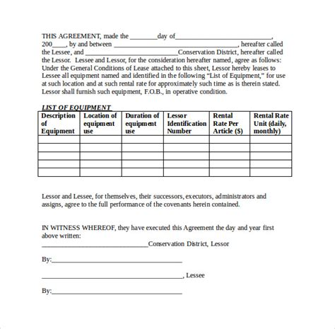 7 Sle Equipment Rental Agreements Sle Templates Sound Equipment Rental Contract Template