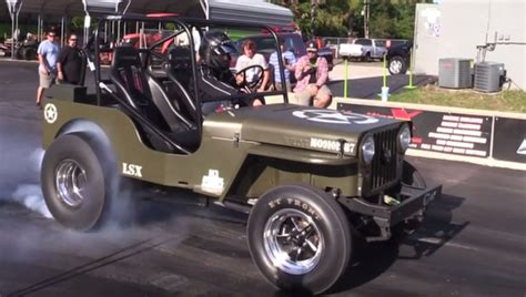 Jeep Racing Lsx Powered Jeep Willys Blows Up During Drag Race