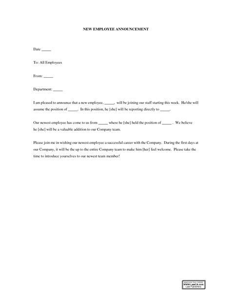 best photos of new employee announcement letter new