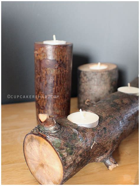 diy tree stump rustic candle holders