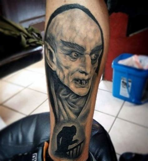 old ghost tattoo cool black ink horror on leg