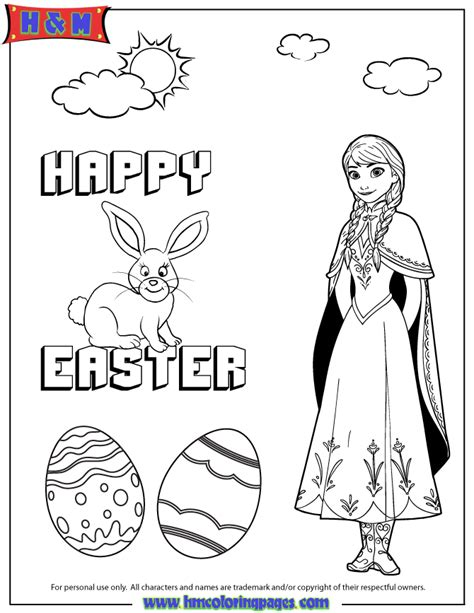 hm coloring pages frozen disneys frozen anna and easter bunny coloring page h m