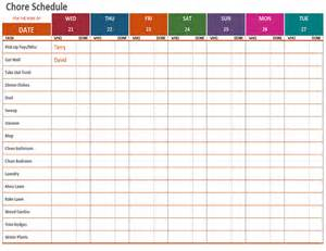 template for a schedule weekly chore schedule office templates