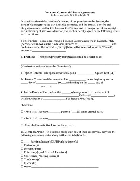 Commercial Lease Agreement Download Free Documents For Pdf Word And Excel Lease Rider Template