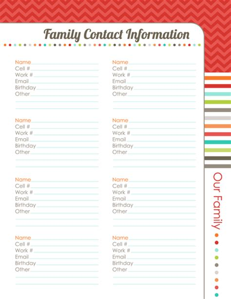 family contact list template family contact information by erin rippy diy organizing