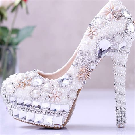Brautkleid Schuhe by Aliexpress Buy Pearl Wedding Dress Shoes Rhinestone