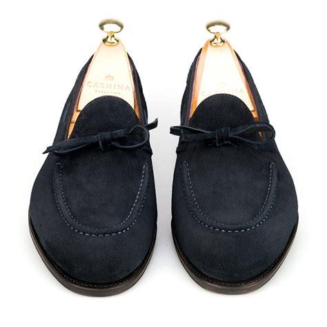 carmina string loafer string loafer in navy suede carmina