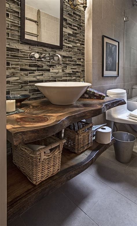 rustic bathroom countertops 24 chic live edge wood furniture objects to try shelterness