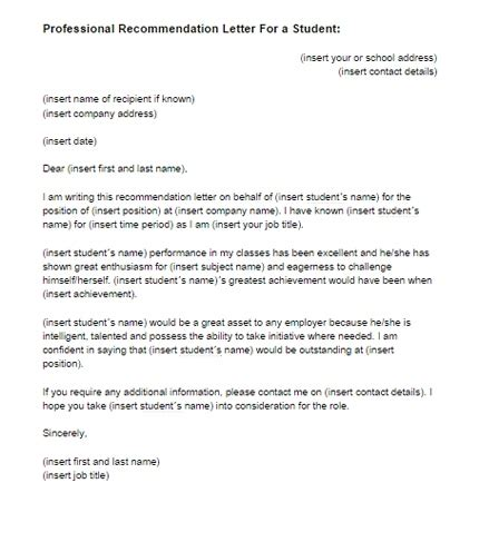 recommendation letter for student from teacher template recommendation letter for college template