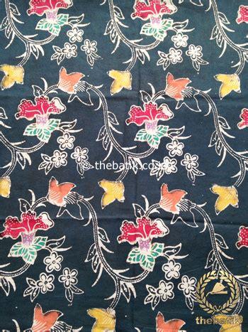 Kain Batik Cap Indigo Not Balok jual kain batik indigo coletan motif bunga terompet merah