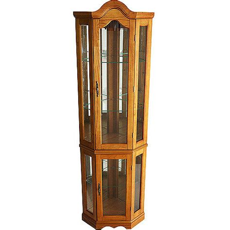 Corner Lighted Curio Cabinet, Golden Oak   Walmart.com