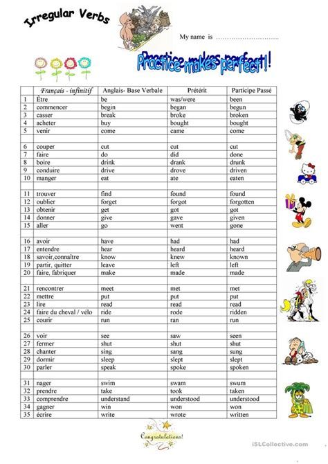 irregular verbs list printable pictures to pin on