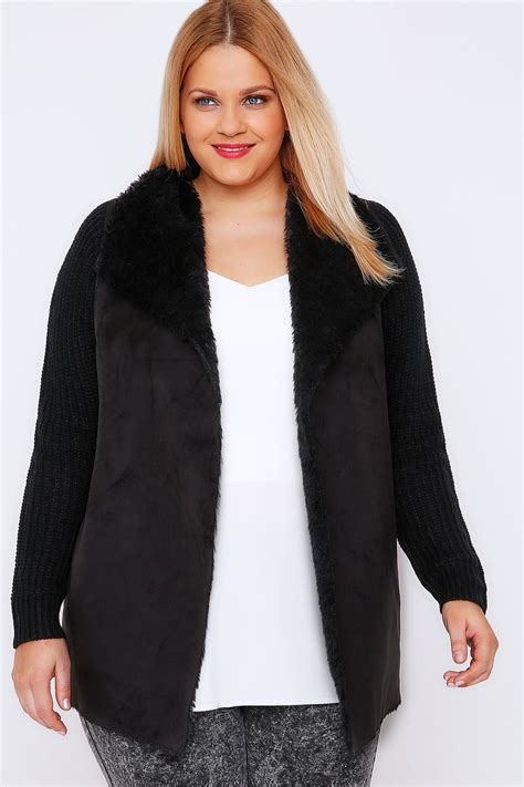 Chunky Cardigan black chunky knit cardigan with shearling collar plus size