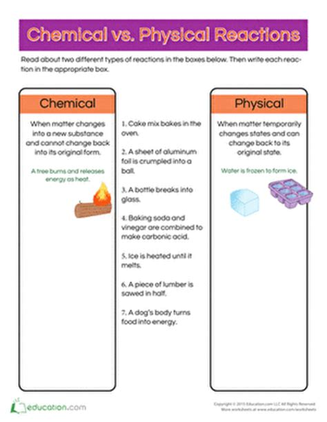 physical and chemical reactions worksheet chemical vs physical reactions worksheet education