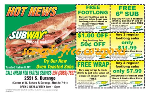 subway restaurant coupons printable subway coupons may 2014