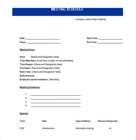 meeting schedule templates 18 free word excel pdf