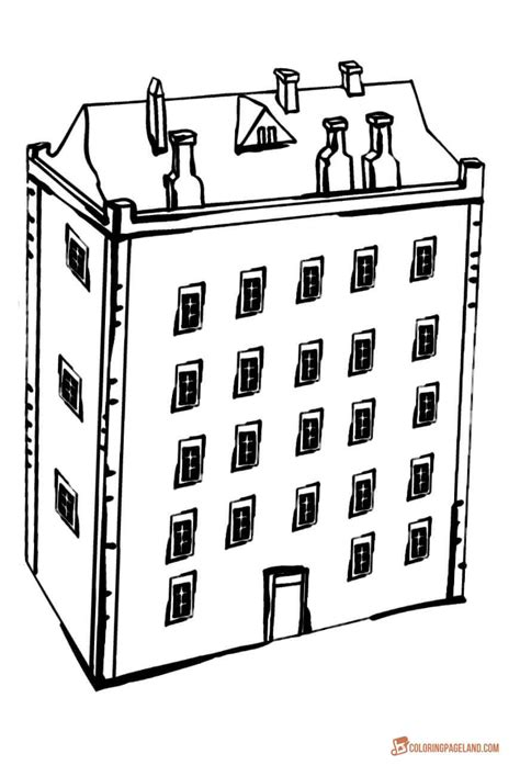 Building Outline Coloring Pages Apartment Template