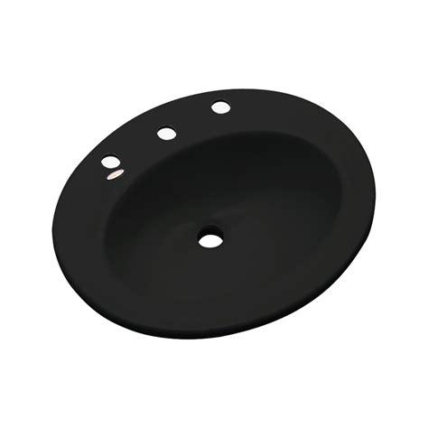 black drop in bathroom sink shop dekor belmont black composite drop in oval bathroom