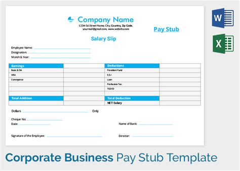 corporate template pay stub template 17 free sles exles formats