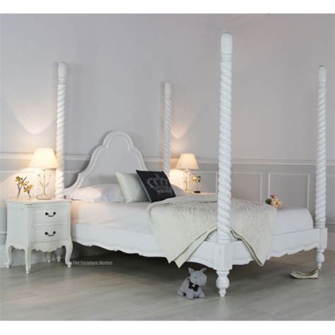 white four poster bed french chateau white painted 5ft king size four poster bed