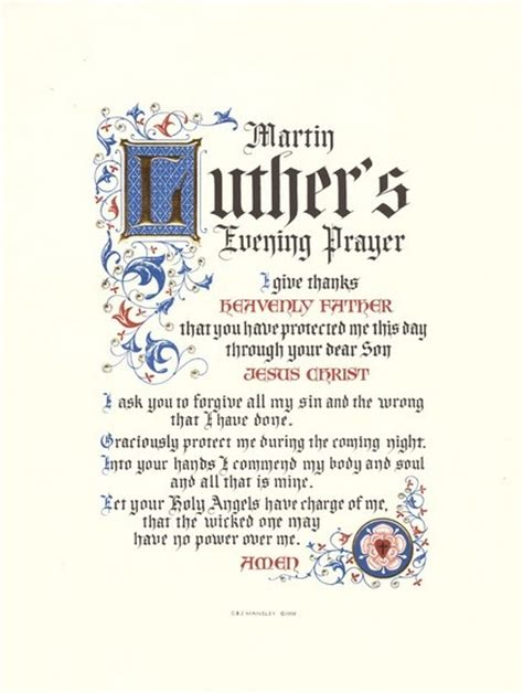 Martin Luther S Evening Prayer Think About Such Things