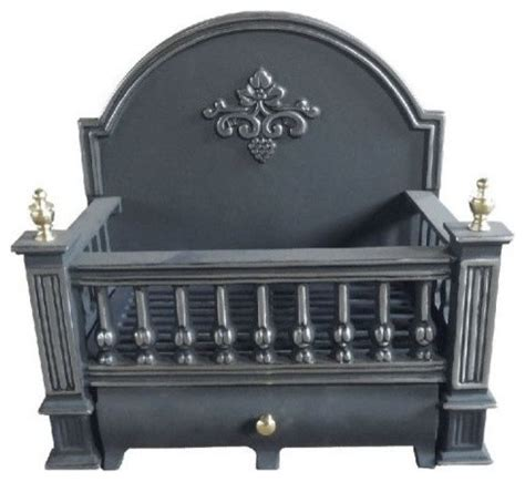 Fireplace Andirons And Grates by Ci910 Black Cast Iron Basket Grate With Fireback 18