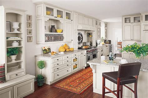 White French Country Kitchen cabinets, grey granite, dark