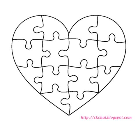Printable Heart Puzzle Template | puzzle of life 谜图人生 free heart shaped puzzle template
