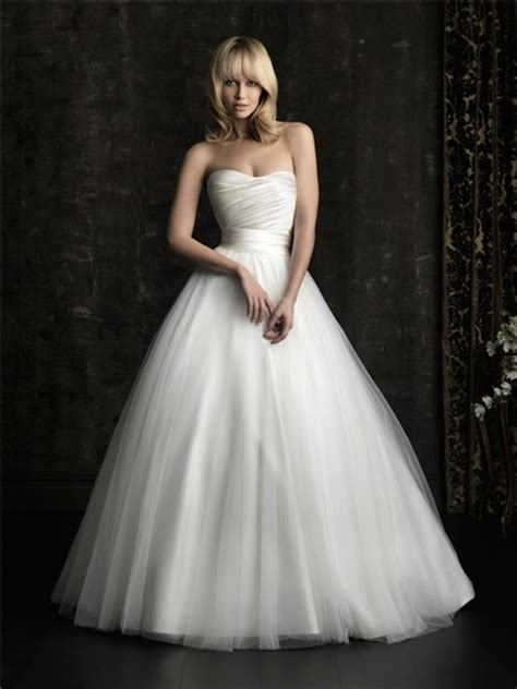 simple ball gown princess strapless plain tulle