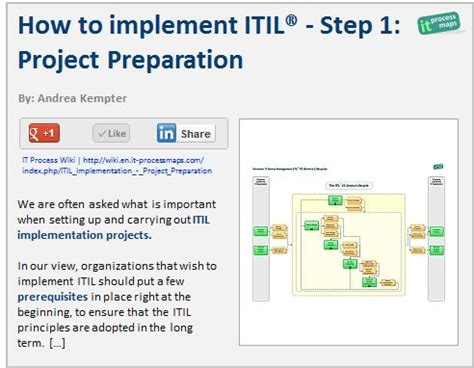 itil implementation project plan template how to implement itil step 1 project preparation