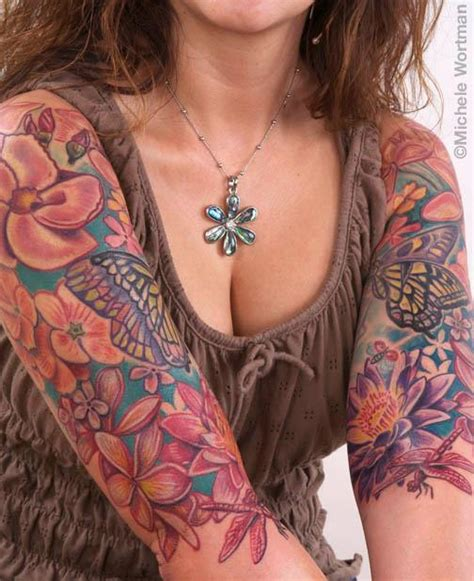 monica tattoos tropical flowers bodyset by michele wortman