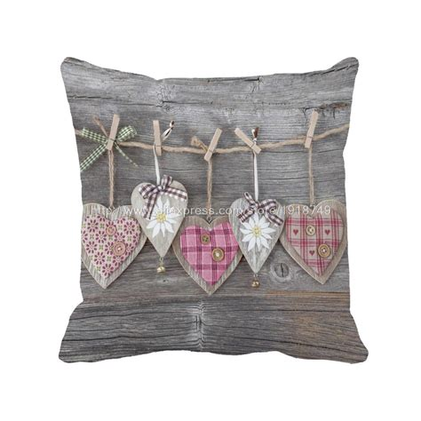 Various Heart Shape Printed Wooden Wedding Home Decorative Shabby Chic Outdoor Cushions