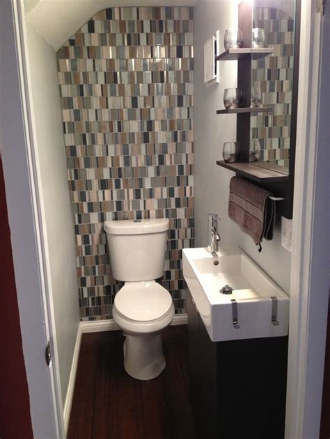 tile accent wall in bathroom small bathroom with glass tile backsplash for the home
