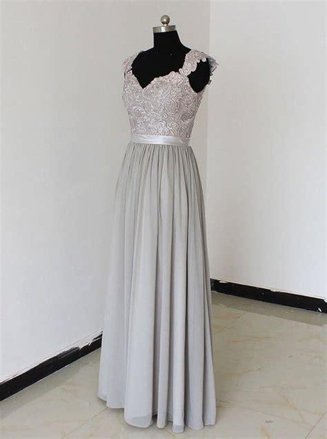 Silver Bridesmaid Dress by Sweetheart Floor Length Chiffon Silver Bridesmaid
