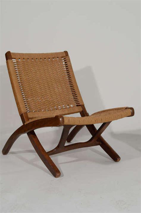 hans wegner style wood  woven rope chair  ottoman  stdibs