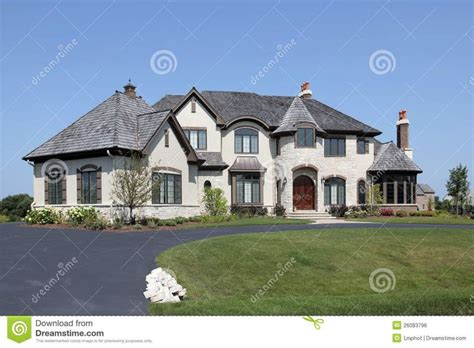 suburban home with turret royalty free stock image image
