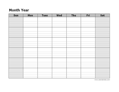 monthly blank calendar free printable templates