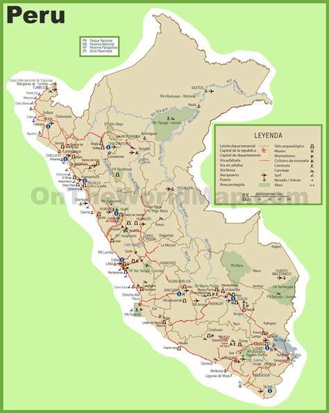 map of peru peru tourist map
