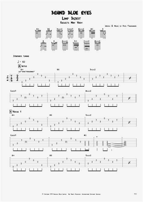 strumming pattern behind blue eyes behind blue eyes by limp bizkit full score guitar pro