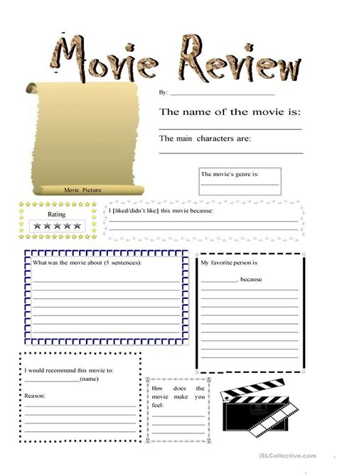 movie review worksheet free esl printable worksheets