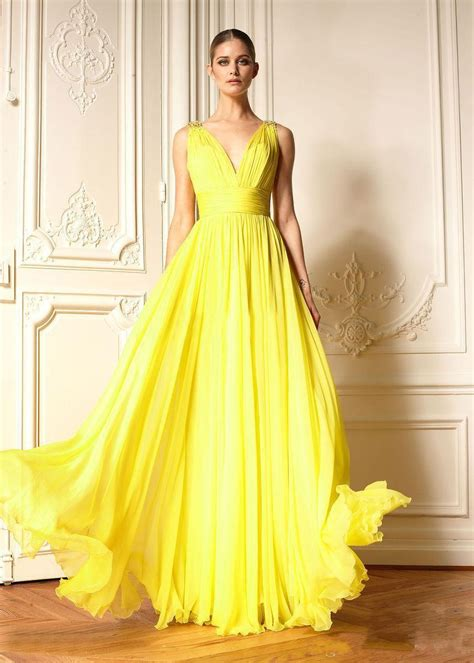 Yellow Evening Gowns Wedding by 2015 Evening Dress Fashion Bright Yellow Prom Dress V Neck