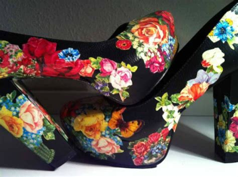 Decoupage Shoes With Fabric - shoe makeovers covering with fabric lace and paper